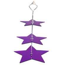 Smooth Cheap 3 Tiers Purple Star Shape Hanging Acrylic Cake Stand with Metal Pillar Plexiglass Hanging Crystal Cake Stand
