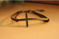 suede leather religious cross charm bracelet velvet rope charm bracelet jewelry