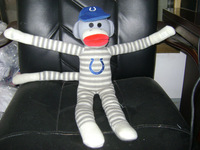 45cm promotional customized stuffed jacquard grey/white striped knitted monkey animal toy with embroidered logo