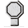 Table Tennis Racket Wall White and Black Marble Mosaic