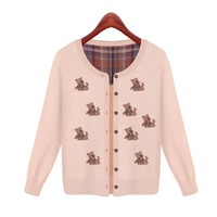 W6013 european style new design long sleeve knitwear summer cardigan cartoon bear women sweaters 2014