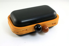 6 3/4 x 4 inches - Plastic Ball Clasps - Wooden Clutch Frame Case with Chain Loops (kzm0057)