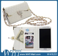 Mobile Phone Case for Samsung Galaxy S4 i9500 Leather Pouch Design with Long Chain