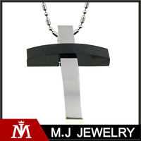 Beads Chain Stainless Steel Silver Black Tone Cross Pendant Necklace