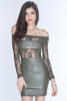 girls Olive Faux Leather Lace Sexy bodycon Clubwear Dress