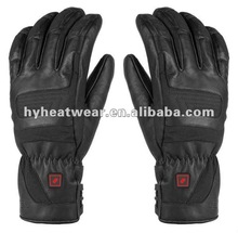 Mens Long Black Leather Gloves Battery Heated Gloves/ Warm Gear Heated Gloves