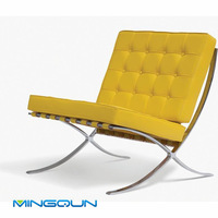 Modern Classic Barcelona Chair With Yellow Leather