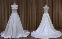 Nobile sweetheart silver crystal belt satin slip wedding dress made in china
