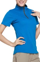 fashion design ladies custom dry fit stand collar sport t shirt
