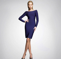Goingwedding Hot Sell V Neck Long Sleeve Tight Open Elegant A Line Neck bandage evening dress 2014