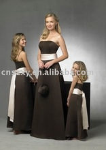 2012 Still Hot Sell A line Satin Strapless Long Sash Popular Hot sell high quality Bridesmaid Dress