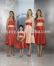 2012 Strapless short Knee length Satin Colorful Sash Bridesmaid Dress BD3507