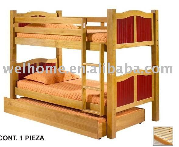 Cama litera de madera cama nido muebles de madera camas - Cama litera de madera ...