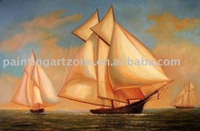 Handmade ship and sea oil painting