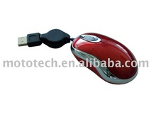 Mini wired Mouse with retractable cable