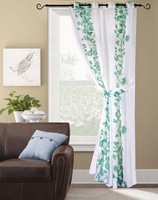polyester printed decorative window curtain with flower pattern