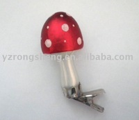 Glass Mushroom with clip for christmas