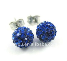 SAPPHIRE CZECH CRYSTAL BALL 8MM 925 SILVER STUD EARRINGS