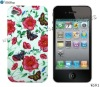 TPU Gel Color Printed Butterfly Flower Case For iPhone 4G. W591 Rose