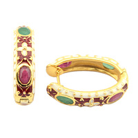 Genuine Ruby and Emerald 14k Yellow Gold Plated on Sterling Silver Hoop Oval Earrings