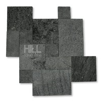 Macello Wall/floor, random french tiles, lava grey black