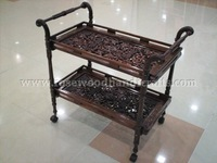 Tea Cart Carved With Two Flappers ,Wooden Tea Trolley , Wooden Tea Cart , Wooden Tea Trolley With Brass Inlay