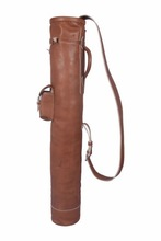 VINTAGE 100% REAL LEATHER GOLF CLUB & BALL BAG - POCKETS