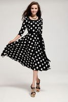 2015 best dress plus size wholesale checkout polka dot rockabilly dress (rockabilly retro pin-up vintage 50s dress)