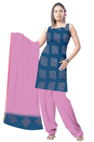 Cotton Satin Bandhani Dress Material in Peacock Blue & Light Pink Color