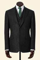 Custom Made Charcoal Shetland Donegal Tweed Men Suits