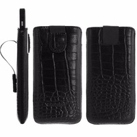 Geniune Leather case for iPhone 5c Slide Croco Black Cow Leather