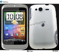 S Curve Line Soft Cover Silicon TPU Gel Case Back Cover for HTC Wildfire S G13 A510E