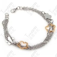 2011 new hot sale fashion gift girl&woman 316l stainless steel gold flower bracelet with rolo chain jewelry setG71