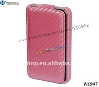 Pink Carbon Fiber Leather Hard Flip Case Cover Pouch For Apple Iphone4