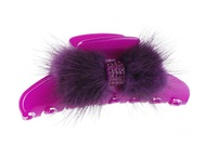 Fashion cellulose acetate fur with rhinestone hair claw