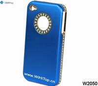 Blue.4S Luxury Case.Aluminum Plating Diamond Frame Luxury Case for iPhone 4 4S