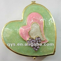 Heart Shape Epoxy & Jeweled Alloy Trinket Box