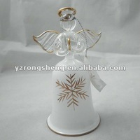 glass angel with bell christmas bell for decoration