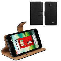black simple wallet cell phone protective case for lg l70 flip cover