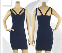 Double straps navy blue high quality bandage dress 2014