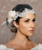2014 Modern Stunning white feather flower wedding headpiece/ bridal headwear/wedding veil