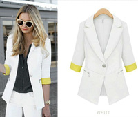 latest design short sleeve white color ladies small suit jacket
