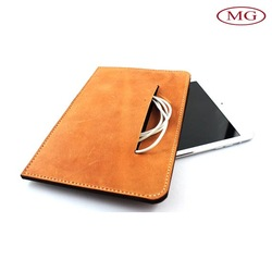 Perfect handmade custom leather pouch for 7''/8''/9.7''/10.1'' tablet with earphone pocket bag