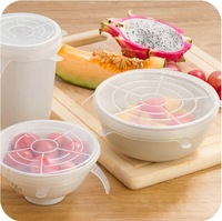 Fresh Food Transparent Six Packs FDA approved Silicone stretch Lids