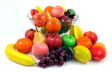 Wholesale Simulation Artificial Fake Fruit Faux Grape Red Apple Banana Lemon Tomato Orange Peach For Set