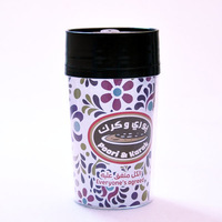 New!350ml paper insert double wall plastic mug,coffee cup with paper inside,450ml double wall thermal cup
