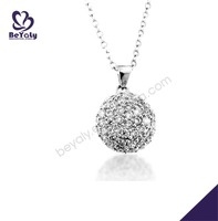 Smart silver best friend beauty crystal ball necklace