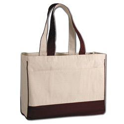 zippered canvas tote bag with bottom border