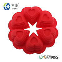 Heart Shape silicone cake decorating mold, cup donut cake pan, silicone baking mold