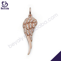 Rose gold plated feather design silver 3 best friends necklaces